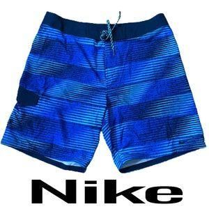 Nike Blue Striped Men's Board Shorts Size 36